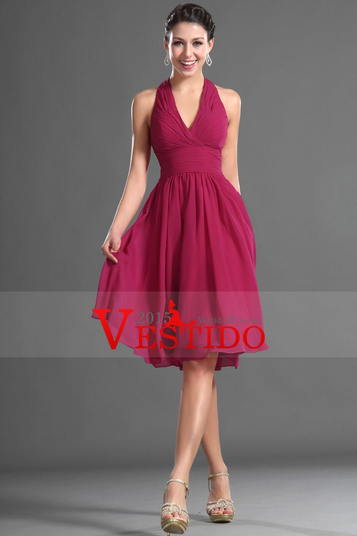 2014 una línea cabestro vestido de fiesta blusa plisada longitud de la rodilla gasa