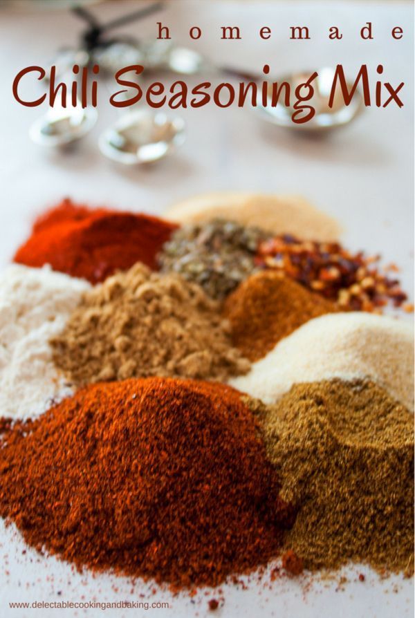 Delicious homemade stove-top or crock pot chili is what's for dinner with this easy to make, from scratch, Homemade Chili Seasoning Mix! This chili seasoning mix is perfectly suited for beef, turkey, and chicken chili as well as any variety of beans you would like to use in a vegan version of bean chili… DelectableCookingandBaking.com | #chiliseasoning #chilimix #seasoningmix #homemade