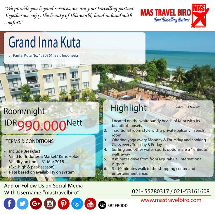 "Promo Hotel ""Grand Inna Kuta"" Bali, yuk di booking."
