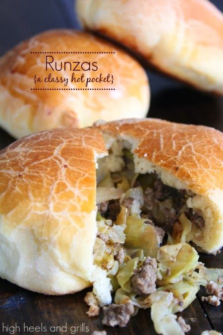 Runzas - A Classy Hot Pocket~T~ I love these. Make them all the time with all kinds of filling. You can go Italian, Asian, Mexican any flavors you want. You can also use frozen bread dough if you are in a hurry. My kids call them walking sandwiches.