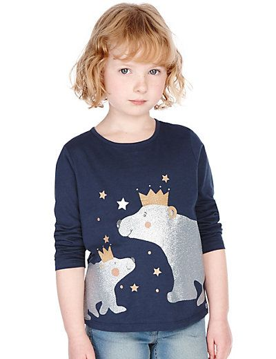 Pure Cotton Polar Bear Print T-Shirt (1-7 Years) | M&S - GBP 7 - 8