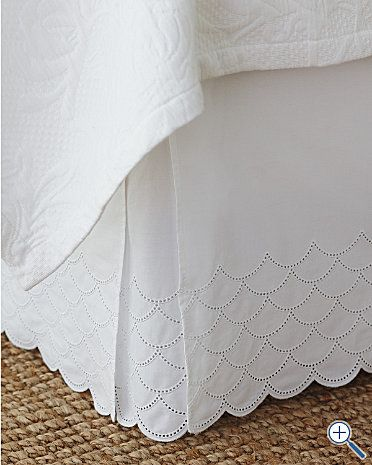 Gorgeous bedskirt- This can go with so many of your bedding choices & really finishes off the look of the bed. This one has some nice details in the fabric pattern & the scalloped edge but is still tailored enough to use in a master bedroom.