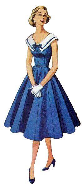 Nautical vintage dress pattern