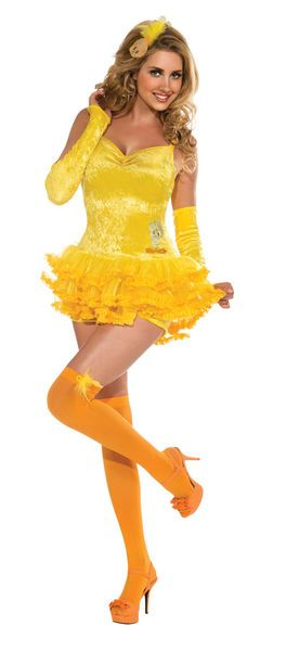 Naamiaisasu; Tipi typy. Tämä Tipi typyn naamiaisasu on keltainen kuin kanarianlintu ja tuo varmasti iloisen mielen sinne, missä Tipi typy liikkuukin. Hauska asu sopii nin lastenkutsujen emännälle kuin biletipullekin. Tuote on lisensoitu Looney Tunes-asu. Naamiaisasu sisältää: - Mekon - Microshortsit - Hiuskoriste - Hihat - Stay-Up sukat