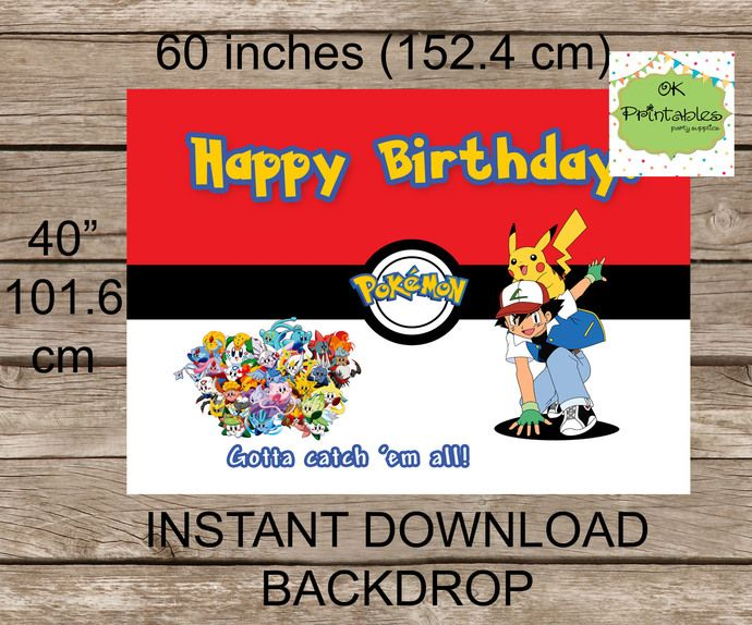 Pokemon backdrop Printable, digital file- POkemon Happy Birthday - Pokemon background- INSTANT DOWNLOAD by okprintables, $7.20 EUR