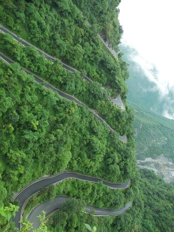 Mussoorie, Dehradun, India. I can't believe I didn't vomit driving this road. Other's weren't so fortunate.