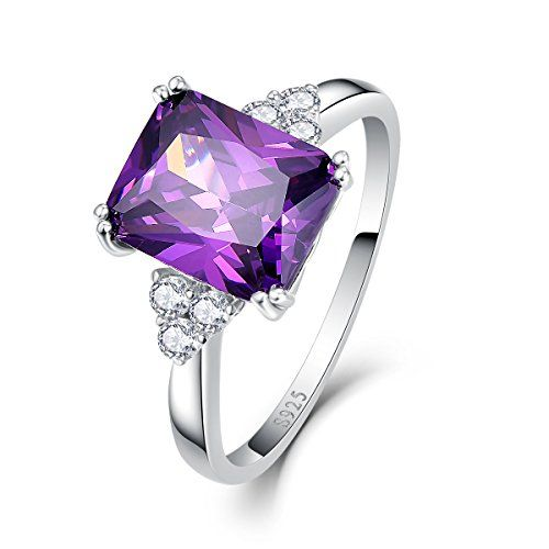 Bonlavie 5.25Ct 8X10mm Purple Amethyst 925 Sterling Silver Promise Engagement Wedding Ring