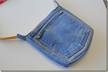 Cute little denim bag out of recycled jeans pocket