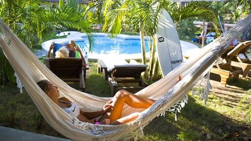 Relaxing in a hammock in Costa Rica #surfcamp