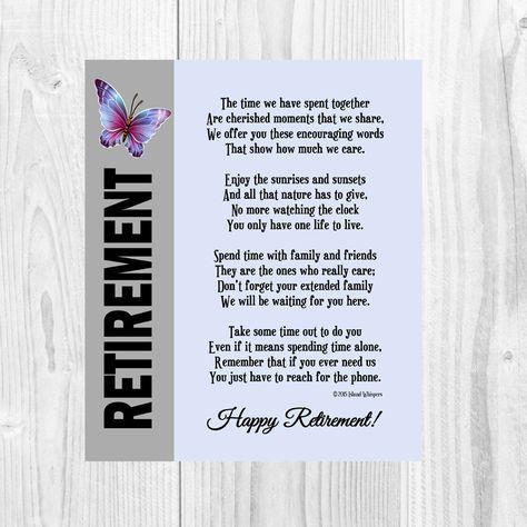 Retirement Poem Retirement Gift Co-Worker by IslandWhispers