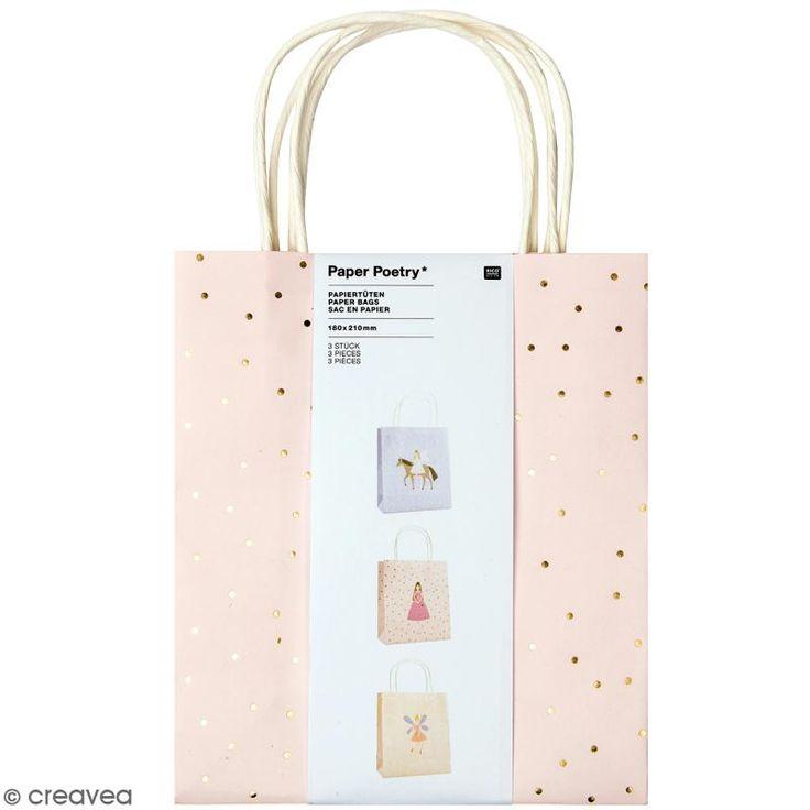 Set de bolsas de papel - Princesa - 18 x 21 cm - 3 uds