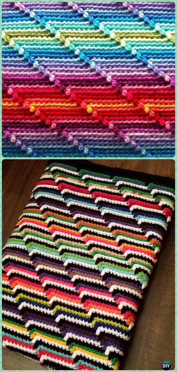 Crochet Groovy-ghan Blanket Free Pattern - Crochet Rainbow Blanket Free Patterns