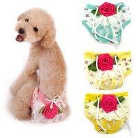 Ropa interior linda del perro de animal doméstico floral de lujo Sanitaria Panty Cachorro Hembra Shorts Pantalón de pañales gratis y de la gota