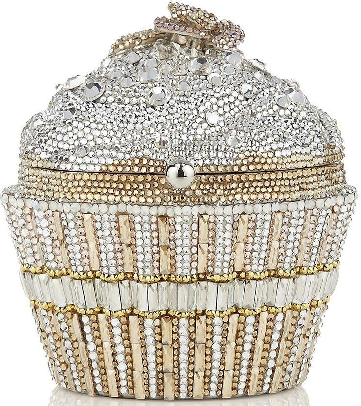 Judith Leiber Champagne Diamond Cupcake Clutch Bag