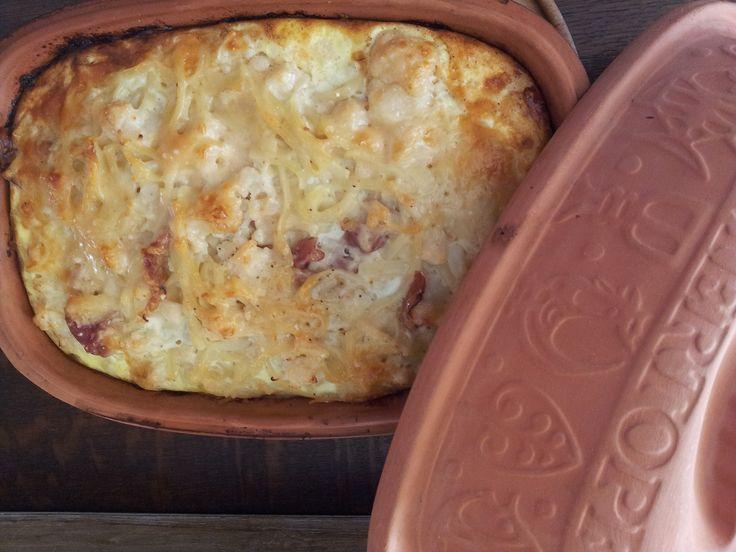 recept bloemkoolsouffle in roemertopf met ham
