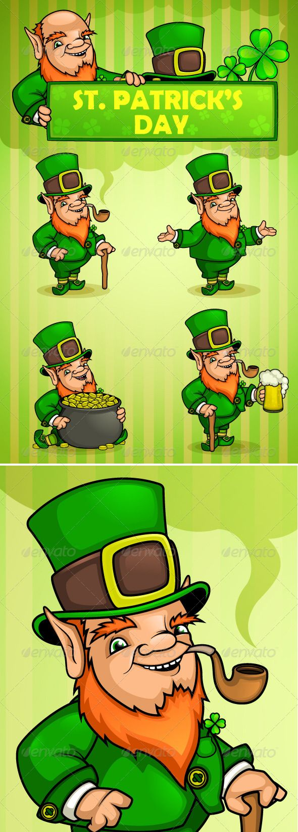 Leprechauns St. Patrick's Day #GraphicRiver Leprechauns St. Patrick's Day. Four positions of the character. - Leprechaun with a cane - Leprechaun his arms - Leprechaun sitting with a pot of gold - Leprechaun with beer And as a Leprechaun holding a sign in his hand. In addition, all the elements leprechaun are symbols that can be combined with each other. You can take your hat off, remove the stick, change hands in some places, and other activities. Includes EPS files, AI files and PSD files…
