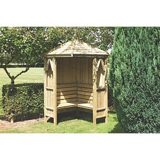Order online at Screwfix.com. Sheltered corner arbour with integral seating for 4 adults. FREE next day delivery available, free collection in 5 minutes.