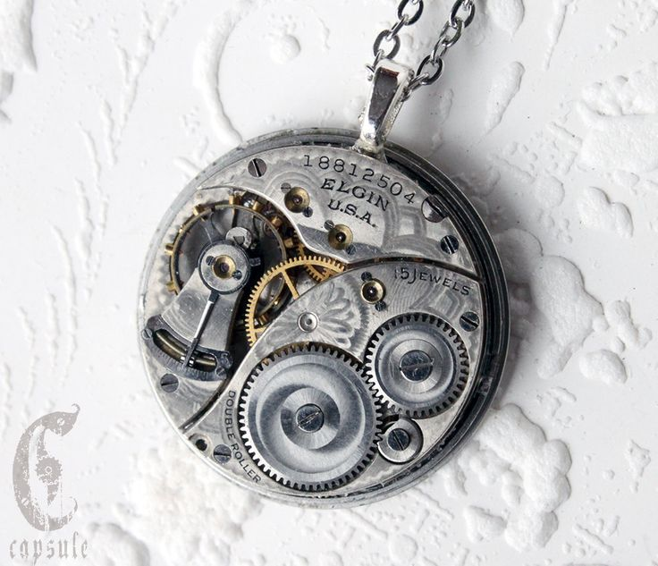 Steampunk Statement Necklace - Steampunk Pendant - Elgin Guilloche Etch Antique Pocket Watch Movement Pendant Valentine Gift by CapsuleCreations on Etsy