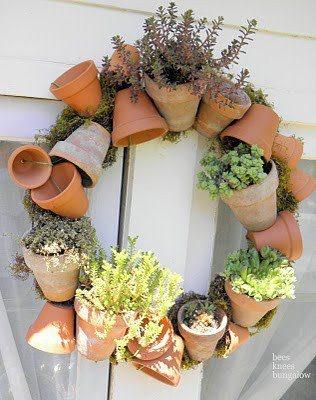 clay pot planter wreath