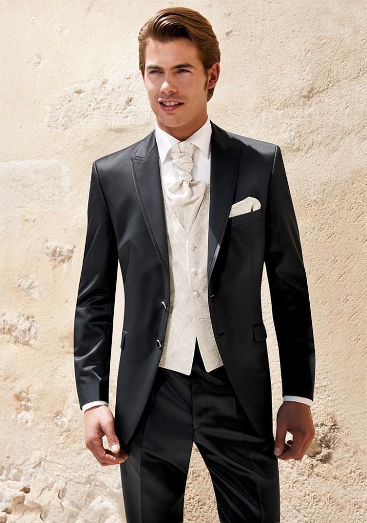 Черный мужчины свадьба костюмы максимумом нагрудные мужчины костюмы смокинг жениха костюмы три цельный костюм ( куртка + брюки + жилет + перевязка )