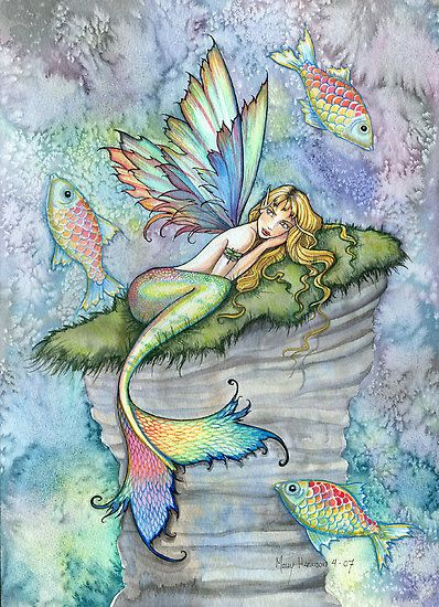 """""Leaping Carp"" Mermaid Art by Molly Harrison"" by Molly Harrison 