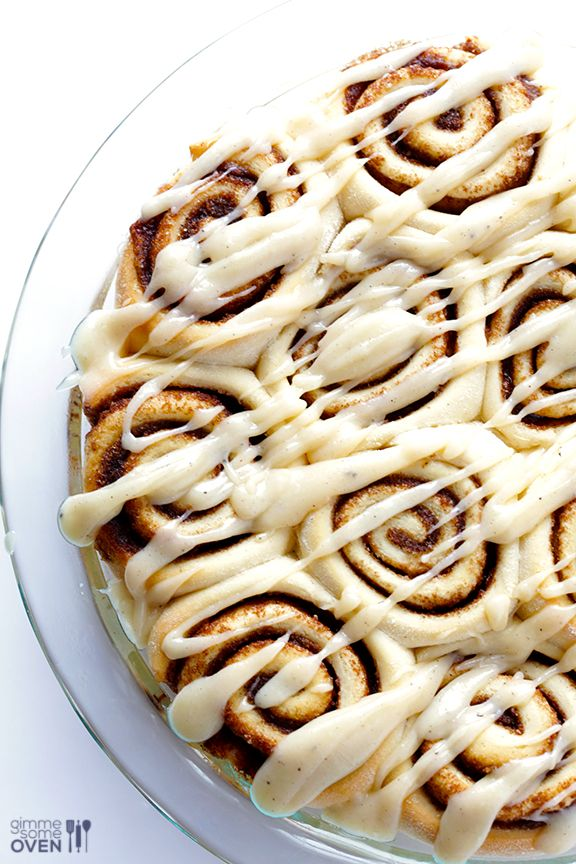 Brown Butter Cinnamon Rolls -- unbelieavbly delicious with easy-to-make brown butter, and ready to go in a little over an hour! | gimmesomeoven.com #breakfast