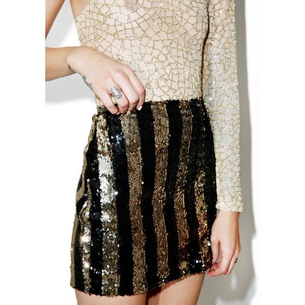 Motel Stripe Nights Sequin Tube Skirt ($18) ❤ liked on Polyvore featuring skirts, mini skirts, short mini skirts, striped mini skirt, short sequin skirt, stretchy mini skirts and stretch mini skirt