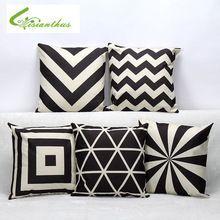 Europa Simplism estilo impresso capa de almofada preto e branco Cotton Linen lance fronha decorativa fronha sofá de casa de carro(China (Mainland))