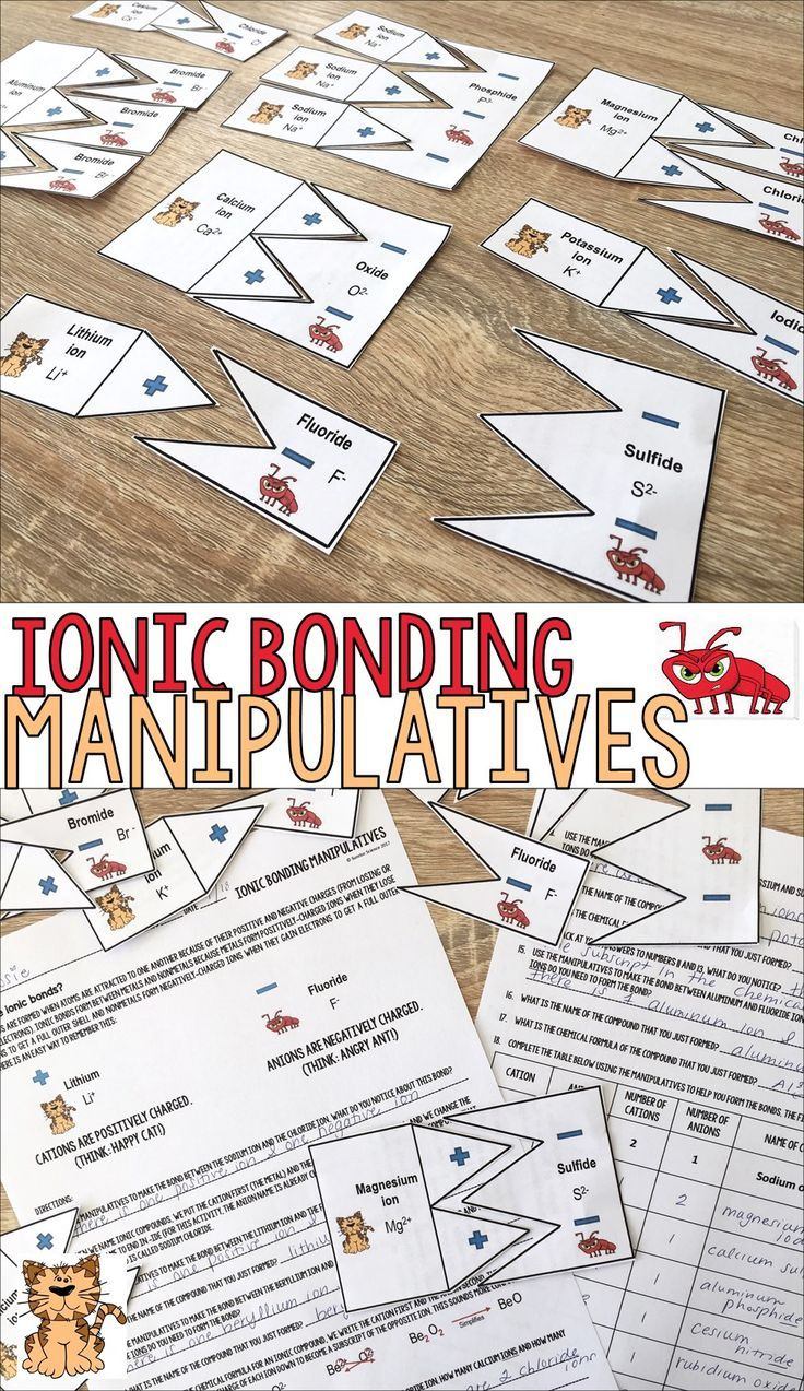 hight resolution of Ionic Bonding Manipulatives Puzzle Activity   Middle school chemistry
