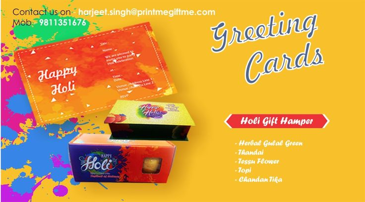 Launching Holi Gift hampers and greating cards please contact us for Bulk/Indivisual order @ +9811351676/ #harjeet.singh@printmegiftme.com