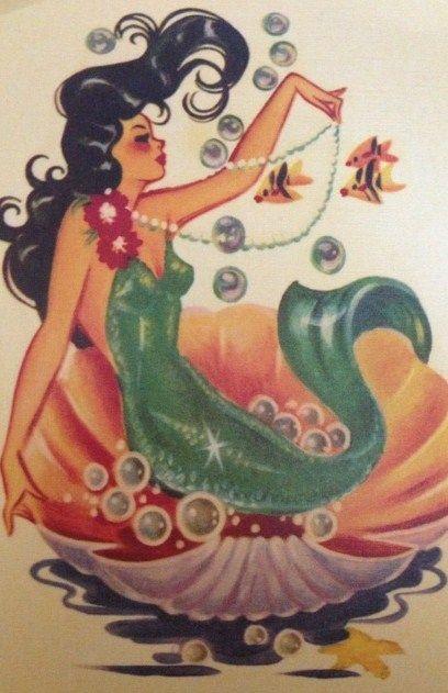 vintage mermaid card...I'm obsessed with mermaids... Blame Disney :p