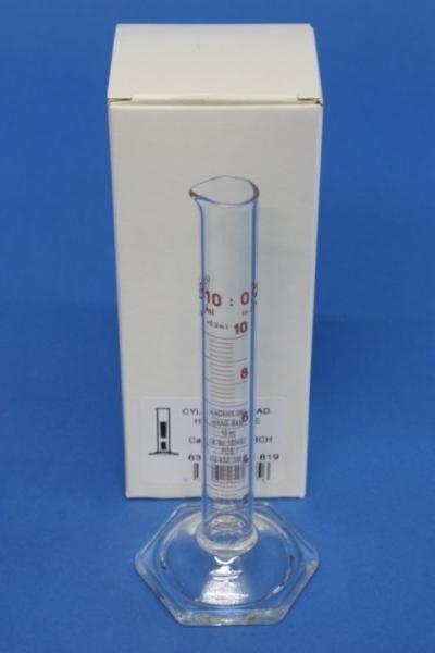 Messzylinder aus Glas - 10 ml ►►   Messzylinder 10ml aus Glas ( Borosilikat 3.3 ) mit Ausguss, Sechskantfuß sowie säure- und laugenfester Graduierung / Unterteilung: 0,2ml Skala, Klasse B, ◄◄