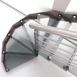 Escalera recta con estructura en acero inoxidable y peldaños de cristal, gusta a todo el mundo