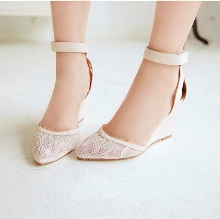 Great 2013 Sexy Mary Janes Ankle Strappy Wedges Lace Wedding Shoes For Bride