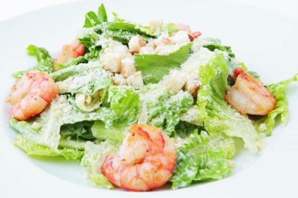 Caesar salad with king prawn