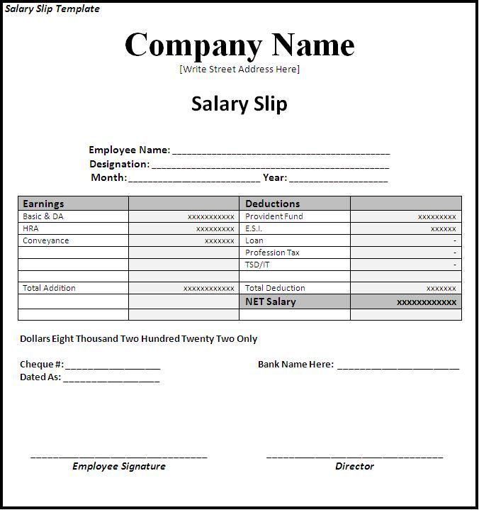 salary slip formate - Yahoo Image Search Results