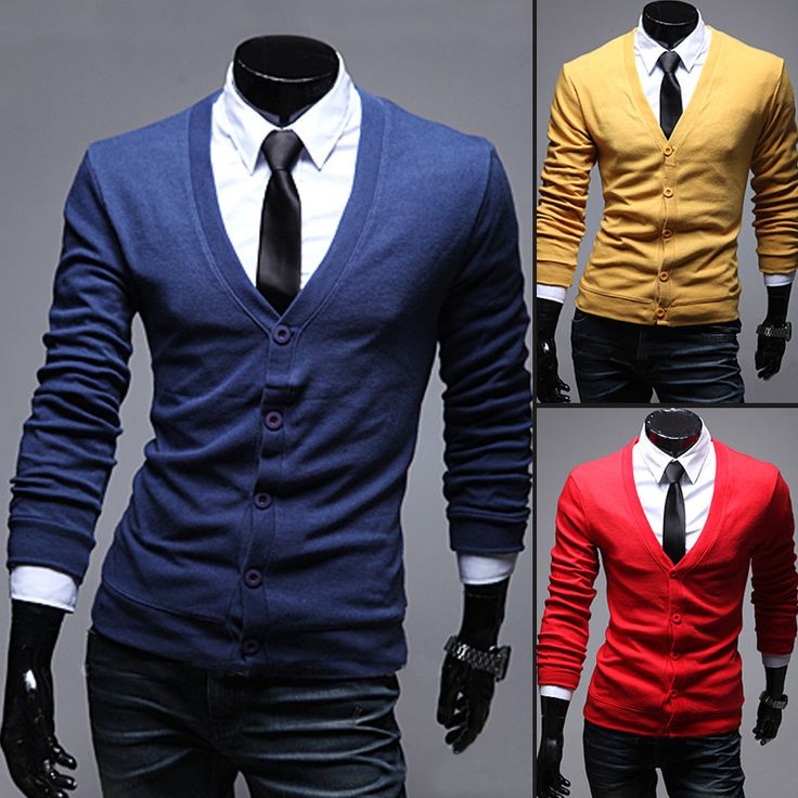 11 Colors 2016 New Arrival Fitness casual Men Sweater V Neck Long Sleeve  Soild Color Button