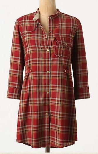 Red plaid tunic from Anthropologie