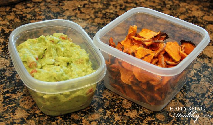 My favorite Whole 30 food sweet potato chips and guacamole