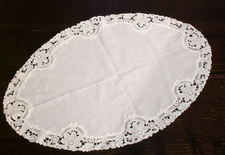 Vintage Oval Cotton Lace Tablecloth 54x36 cm 21x14 inch