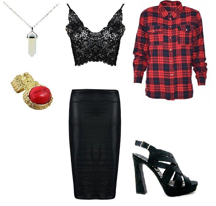 http://magazyn.modadamska.waw.pl/ stylizacja, ołówkowa spódnica, spódnica ołówkowa, koronkowy top, koszula w kratę, stylowo, sensualnie, Monashe Products