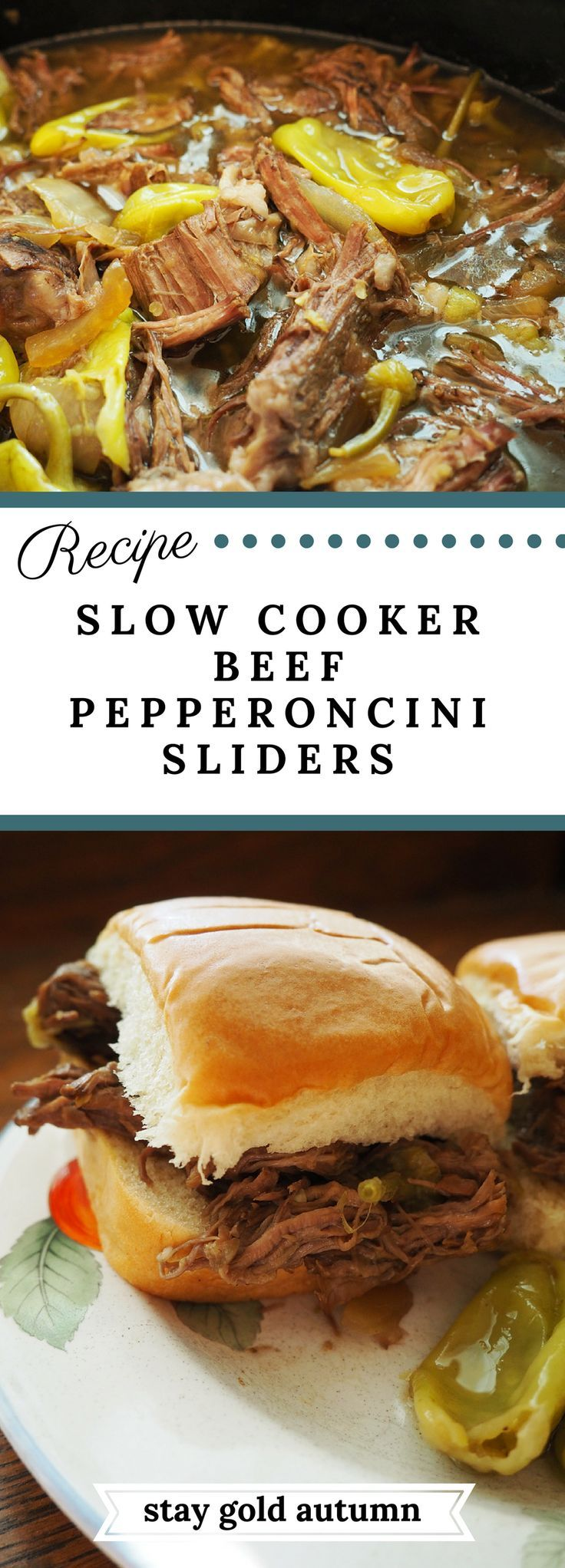 slow cooker beef pepercini sliders: I put this on before I went to bed and my house smelled wonderful when I woke up!! I shredded the meat to put them on sliders. This was a childhood favorite and a big hit with my family! | Stay gold Autumn