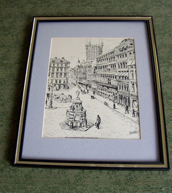 Vintage Stockholm Black and White Framed Print by Artdecogirlshop, $14.95