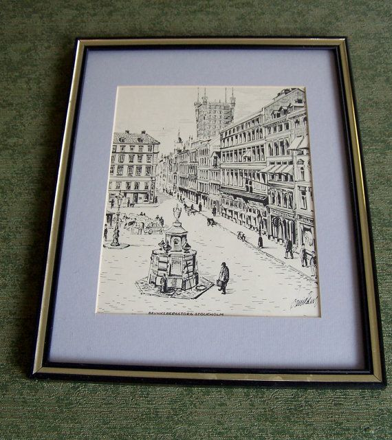 Vintage Stockholm Black and White Framed Print by Artdecogirlshop, $14.95