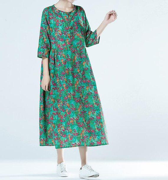 green long sundress Cotton long dress Linen round collar long