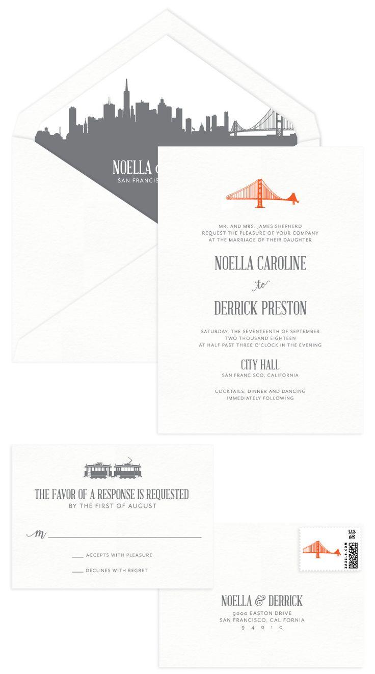 GoldenGate Letterpress Wedding Invitation