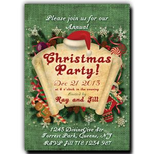 Christmas Party Invitation - Paper Scroll on Green Canvas