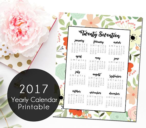 Floral 2017 Yearly Calendar Printable