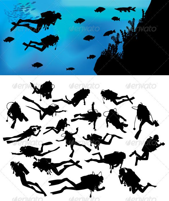 Scuba Diving Silhouettes #GraphicRiver This is nice and high detail vector. In this files include AI and EPS versions. You can open it with Adobe Illustrator CS and other vector supporting applications.