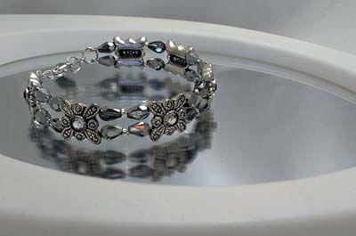 silver sparkle memory wire bracelet swarovski components